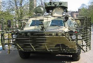 Bar armour installed on Ukrainian BTR-4 APC