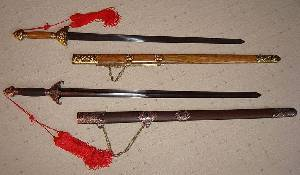 Two jians with sheaths