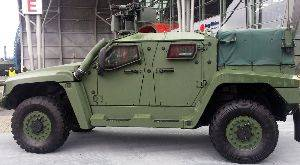Cobham's new GD2049 multi-port antenna installed on a Thales Hawkei vehicle at MSPO Poland