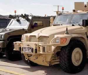 Preparing vehicles for Afghanistan in UK