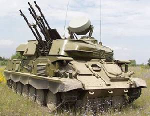 Soviet-made ZSU-23-4 Shilka air defence vehicle