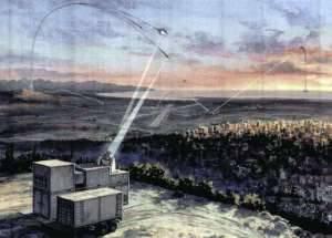 Художественное представление действия химического лазера ПВО SKYGUARD от Northrop Grumman