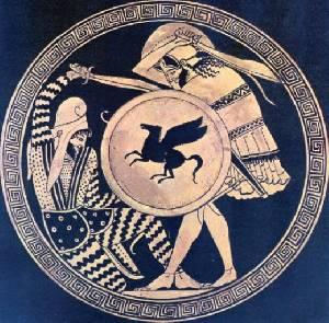 Греческий воин (справа) сражается кописом
