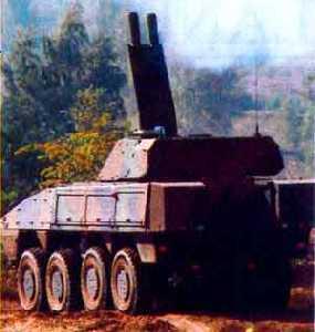 AMOS twin 120 mm mortar system on Patria AMV
