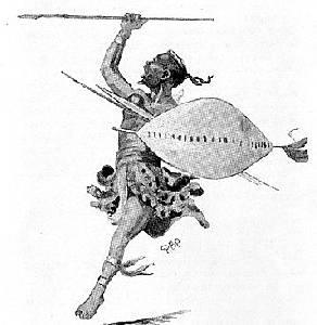 Воин африканского племени зулу с ассегаем в руке